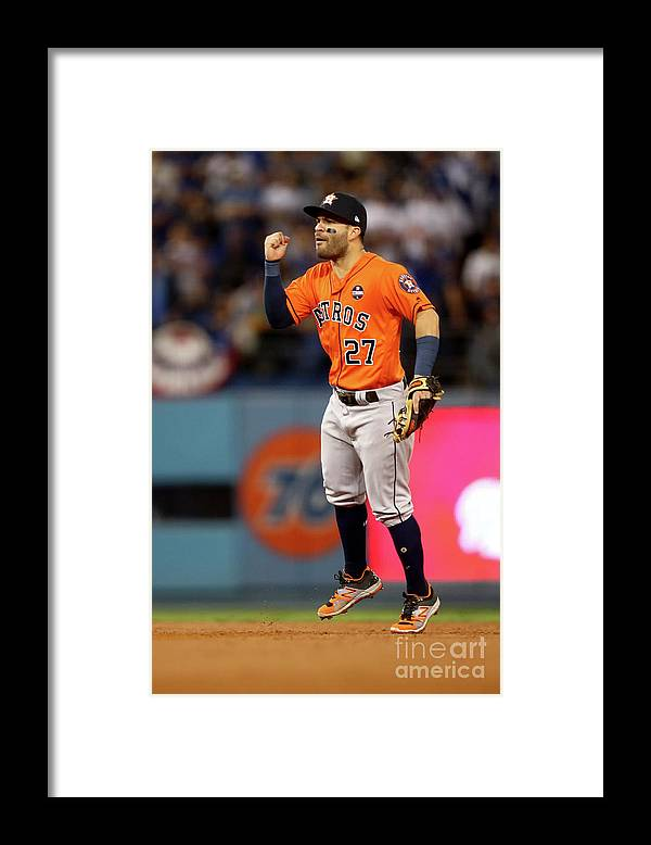 Second Inning Framed Print featuring the photograph World Series - Houston Astros V Los by Ezra Shaw