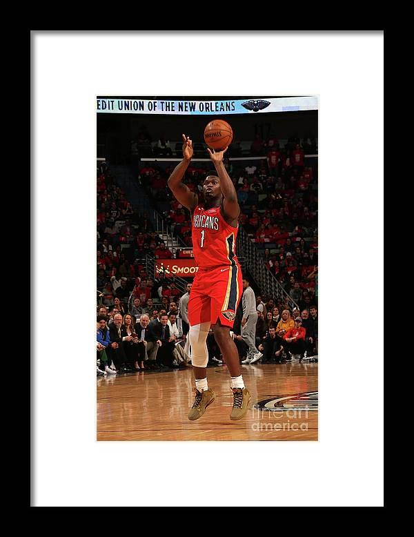Smoothie King Center Framed Print featuring the photograph Zion Williamson by Layne Murdoch Jr.