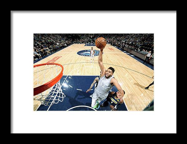 Nba Pro Basketball Framed Print featuring the photograph Denver Nuggets V Minnesota Timberwolves by David Sherman