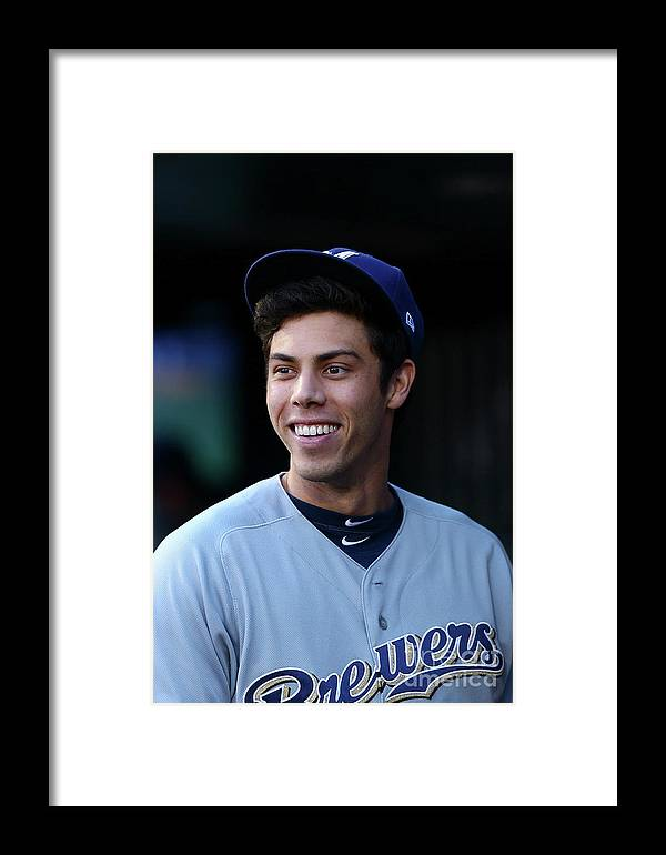 People Framed Print featuring the photograph Milwaukee Brewers V New York Mets 20 by Mike Stobe