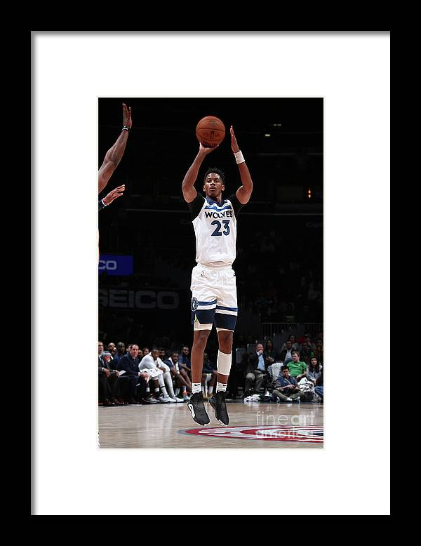 Nba Pro Basketball Framed Print featuring the photograph Minnesota Timberwolves V Washington by Ned Dishman