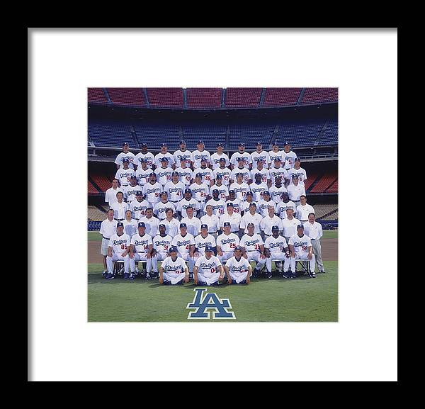 California Framed Print featuring the photograph 2004 Los Angeles Dodgers Team Photo 2004 by Mlb Photos