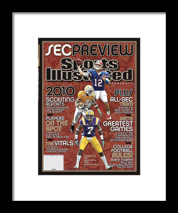 Motion Framed Print featuring the photograph 2010 Sec Football Preview Issue Sports Illustrated Cover by Sports Illustrated