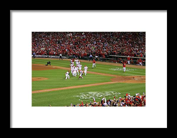 St. Louis Cardinals Framed Print featuring the photograph 2011 World Series Game 7 - Texas by Dilip Vishwanat