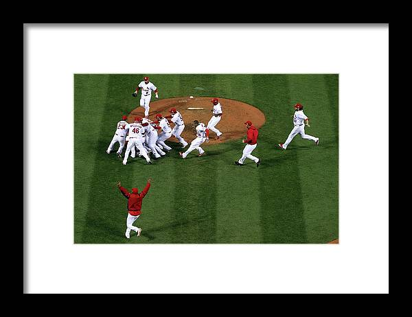 St. Louis Cardinals Framed Print featuring the photograph 2011 World Series Game 7 - Texas by Doug Pensinger