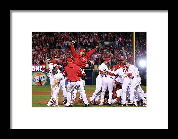 St. Louis Cardinals Framed Print featuring the photograph 2011 World Series Game 7 - Texas 2011 by Ezra Shaw