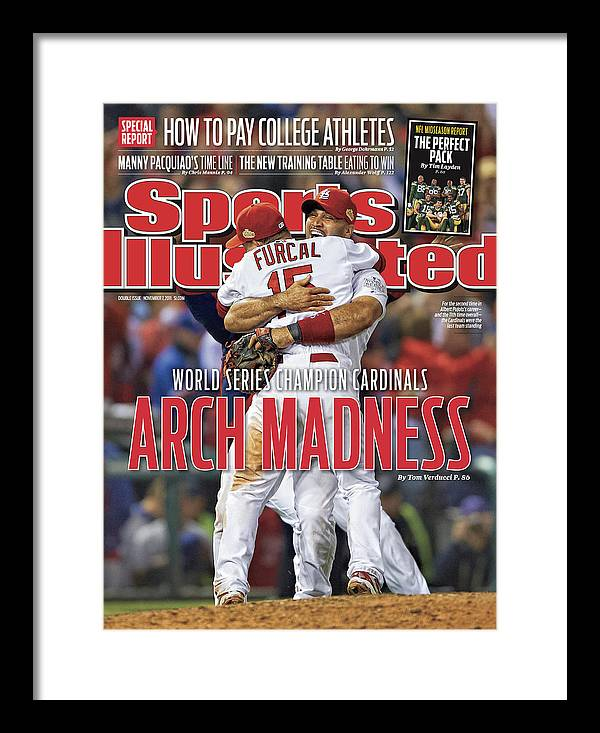 Magazine Cover Framed Print featuring the photograph 2011 World Series Game 7 - Texas Rangers V St Louis Sports Illustrated Cover by Sports Illustrated