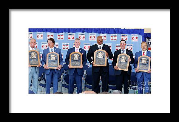 American League Baseball Framed Print featuring the photograph 2014 Baseball Hall Of Fame Induction by Jim Mcisaac