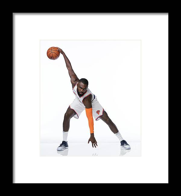 Media Day Framed Print featuring the photograph 2017-18 New York Knicks Media Day by Steven Freeman