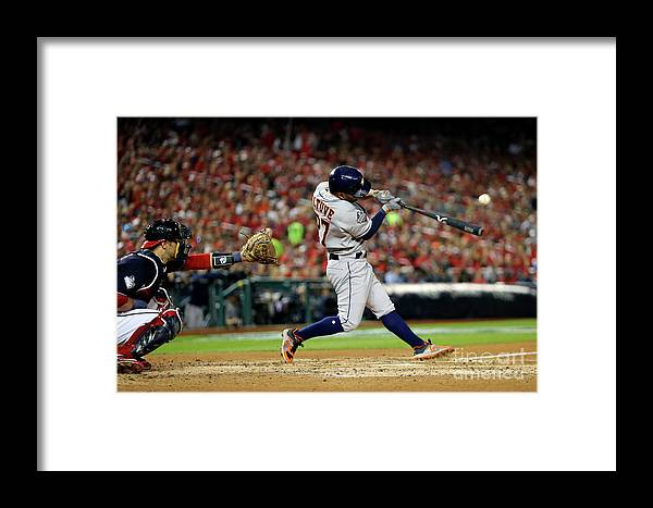 American League Baseball Framed Print featuring the photograph 2019 World Series Game 5 - Houston by Alex Trautwig