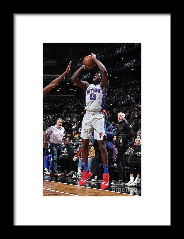 Nba Pro Basketball Framed Print featuring the photograph Detroit Pistons V Brooklyn Nets by Nathaniel S. Butler