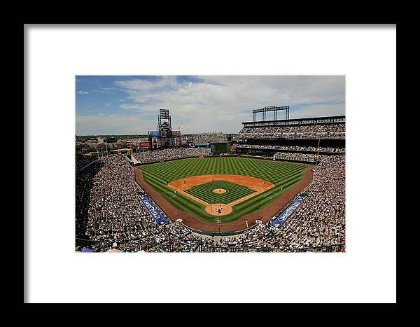 National League Baseball Framed Print featuring the photograph San Francisco Giants V Colorado Rockies by Doug Pensinger
