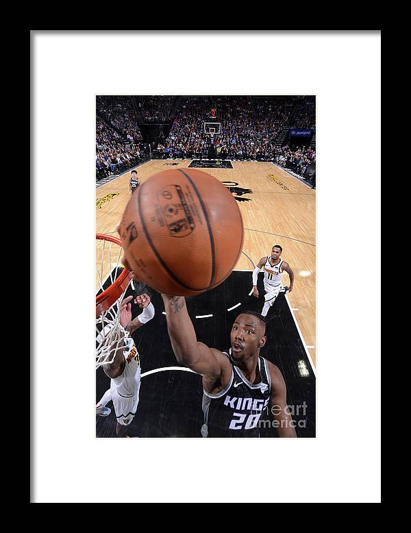 Nba Pro Basketball Framed Print featuring the photograph Denver Nuggets V Sacramento Kings by Rocky Widner