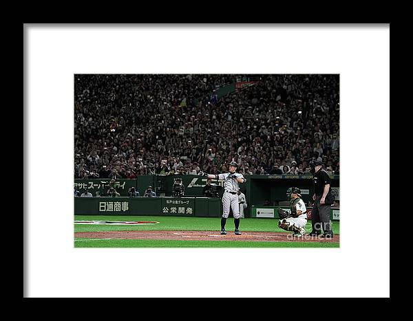 People Framed Print featuring the photograph Seattle Mariners V Oakland Athletics 22 by Masterpress