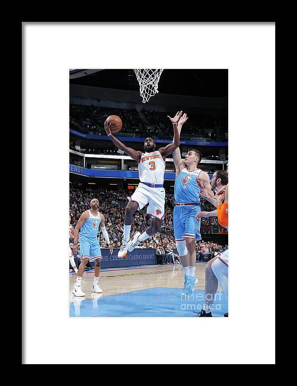 Tim Hardaway Jr. Framed Print featuring the photograph New York Knicks V Sacramento Kings by Rocky Widner