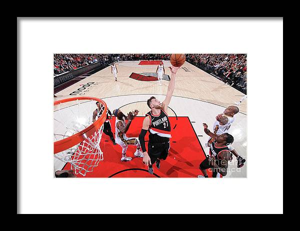 Jusuf Nurkić Framed Print featuring the photograph New Orleans Pelicans V Portland Trail by Sam Forencich