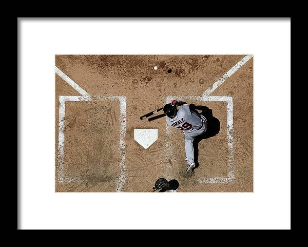 Héctor Sánchez Framed Print featuring the photograph San Francisco Giants V Arizona by Christian Petersen