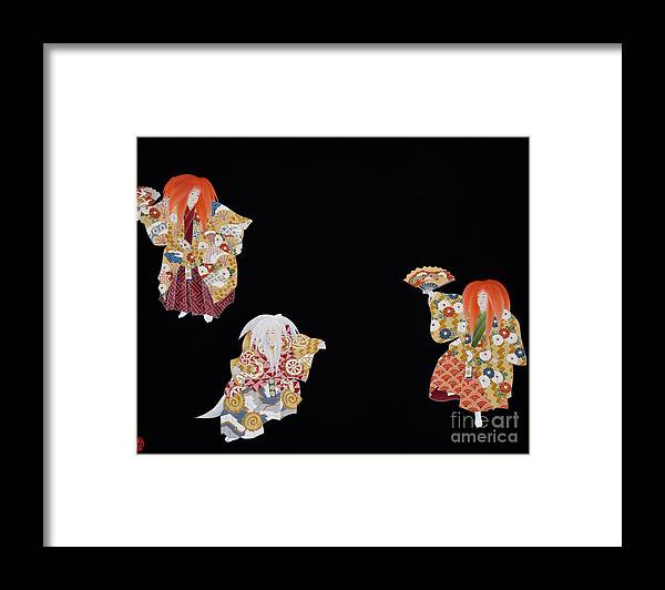 Framed Print featuring the tapestry - textile Spirit of Japan T59 by Miho Kanamori