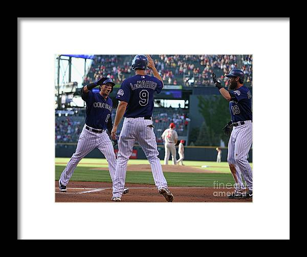 People Framed Print featuring the photograph St Louis Cardinals V Colorado Rockies by Doug Pensinger