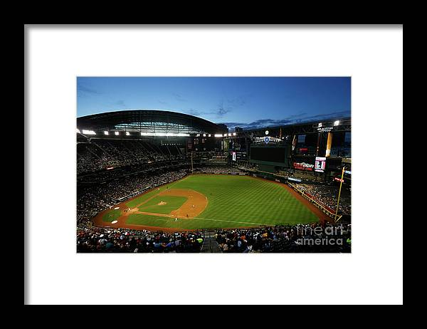 American League Baseball Framed Print featuring the photograph San Francisco Giants V Arizona by Christian Petersen