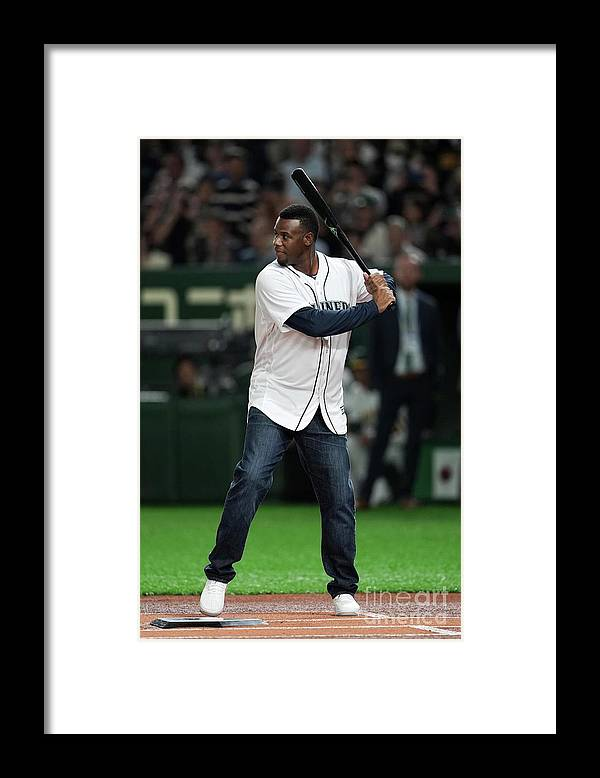 People Framed Print featuring the photograph Seattle Mariners V Oakland Athletics by Masterpress