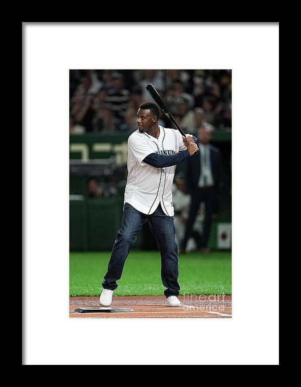 People Framed Print featuring the photograph Seattle Mariners V Oakland Athletics 29 by Masterpress