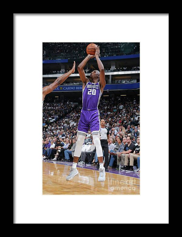 Nba Pro Basketball Framed Print featuring the photograph Utah Jazz V Sacramento Kings by Rocky Widner