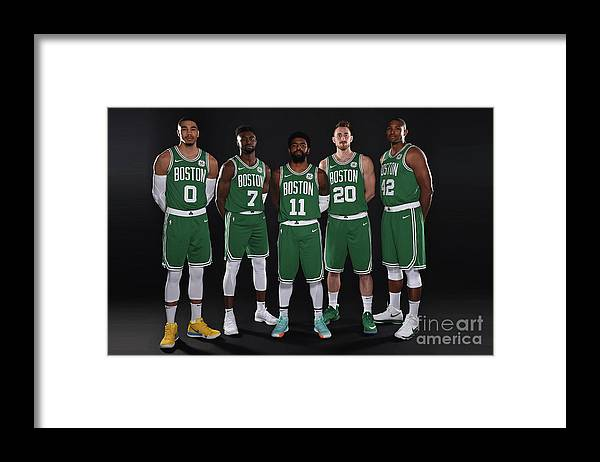 Media Day Framed Print featuring the photograph 2018-19 Boston Celtics Media Day by Brian Babineau