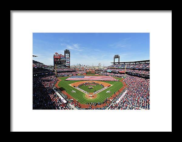 American League Baseball Framed Print featuring the photograph Atlanta Braves V Philadelphia Phillies by Drew Hallowell