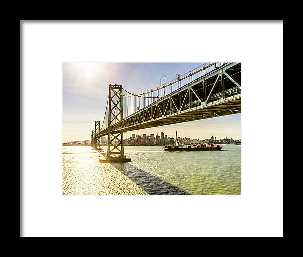 Scenics Framed Print featuring the photograph Bay Bridge And Skyline Of San Francisco by Chinaface