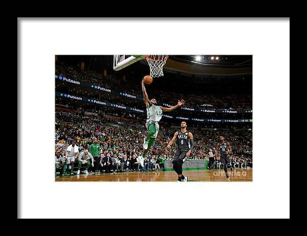 Basketball Team Framed Print featuring the photograph Brooklyn Nets V Boston Celtics by Brian Babineau