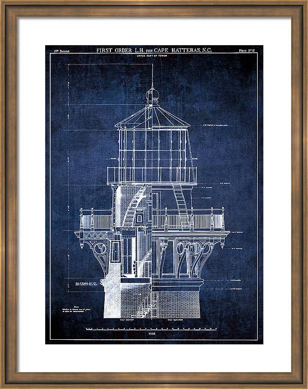 Cape Hatteras Lighthouse Blueprint  1869 by Daniel Hagerman