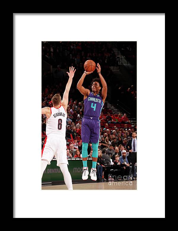 Nba Pro Basketball Framed Print featuring the photograph Charlotte Hornets V Portland Trail by Cameron Browne