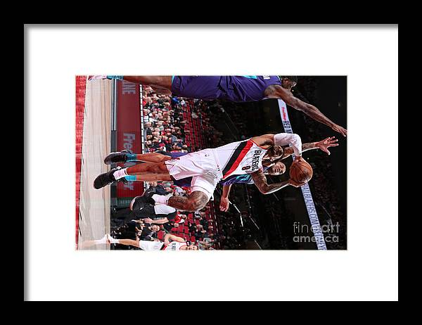 Nba Pro Basketball Framed Print featuring the photograph Charlotte Hornets V Portland Trail by Sam Forencich