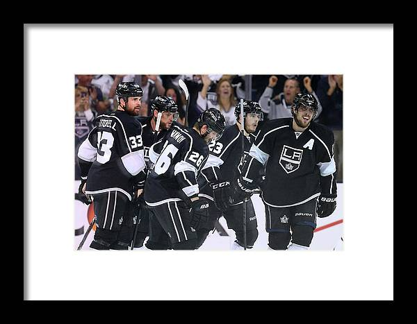 Playoffs Framed Print featuring the photograph Chicago Blackhawks V Los Angeles Kings by Jeff Gross