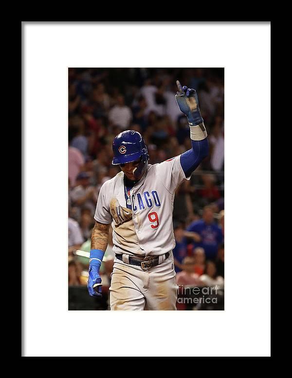Three Quarter Length Framed Print featuring the photograph Chicago Cubs V Arizona Diamondbacks by Christian Petersen