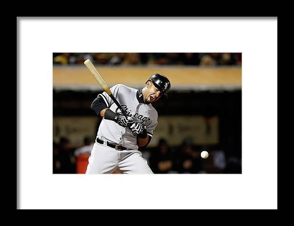 Three Quarter Length Framed Print featuring the photograph Chicago White Sox V Oakland Athletics 3 by Ezra Shaw