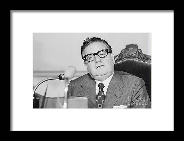 People Framed Print featuring the photograph Chilean President Salvador Allende by Bettmann
