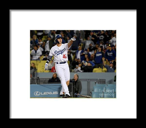 People Framed Print featuring the photograph Cincinnati Reds V Los Angeles Dodgers 3 by Harry How