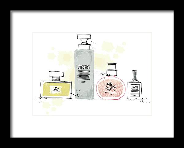 White Background Framed Print featuring the digital art Cosmetics by Eastnine Inc.