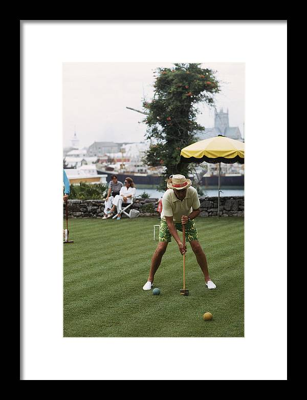 Straw Hat Framed Print featuring the photograph Croquet by Slim Aarons