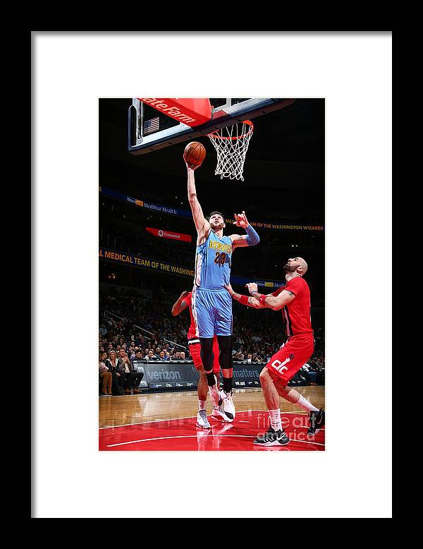 Jusuf Nurkić Framed Print featuring the photograph Denver Nuggets V Washington Wizards by Ned Dishman
