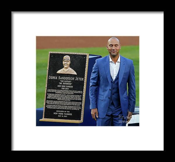 Three Quarter Length Framed Print featuring the photograph Derek Jeter Ceremony by Rich Schultz