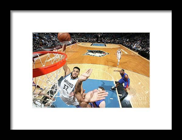 Nba Pro Basketball Framed Print featuring the photograph Detroit Pistons V Minnesota Timberwolves by David Sherman