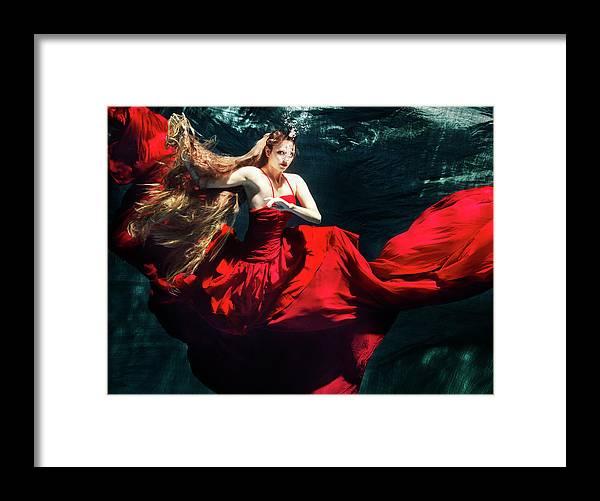 Ballet Dancer Framed Print featuring the photograph Female Dancer Performing Under Water by Henrik Sorensen