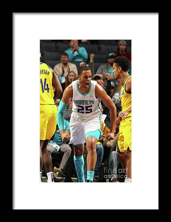 Nba Pro Basketball Framed Print featuring the photograph Indiana Pacers V Charlotte Hornets by Brock Williams-smith