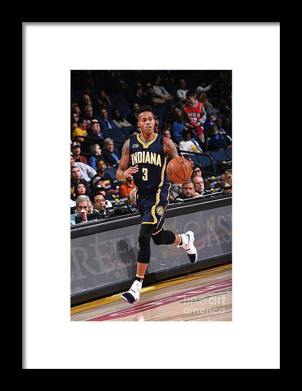 Nba Pro Basketball Framed Print featuring the photograph Indiana Pacers V Golden State Warriors by Noah Graham