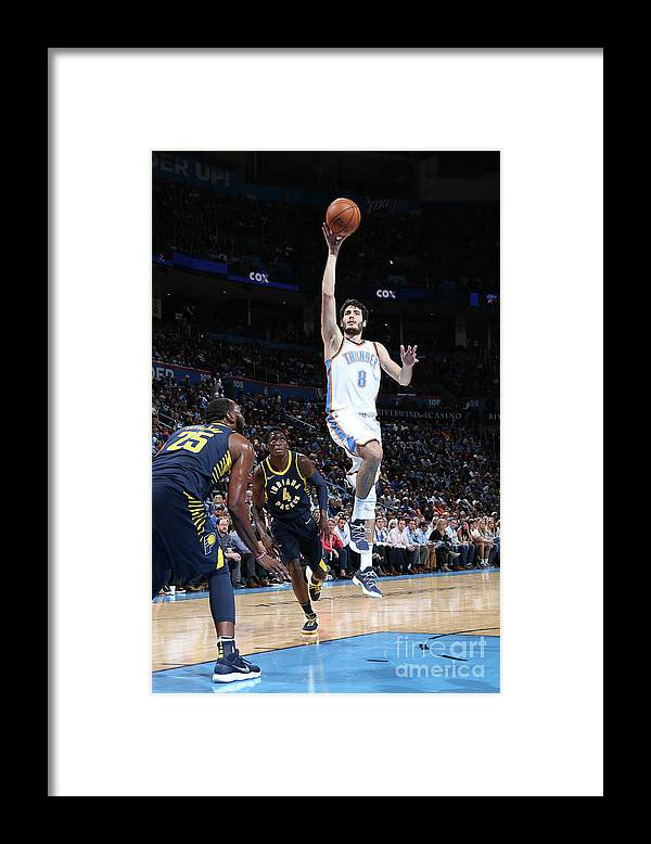 Nba Pro Basketball Framed Print featuring the photograph Indiana Pacers V Oklahoma City Thunder by Layne Murdoch