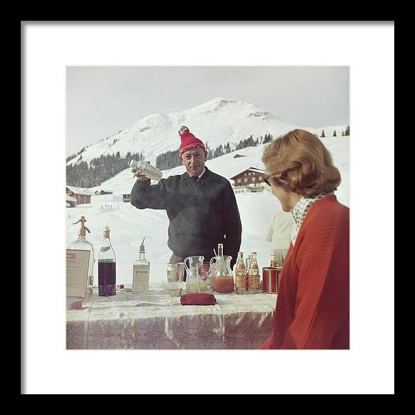 Mixing Framed Print featuring the photograph Lech Ice Bar by Slim Aarons