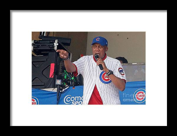 People Framed Print featuring the photograph Miami Marlins V Chicago Cubs by Jon Durr